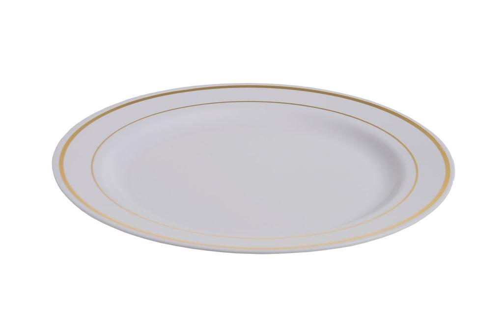 Afbeelding van Plastic borden luxe wit/goud