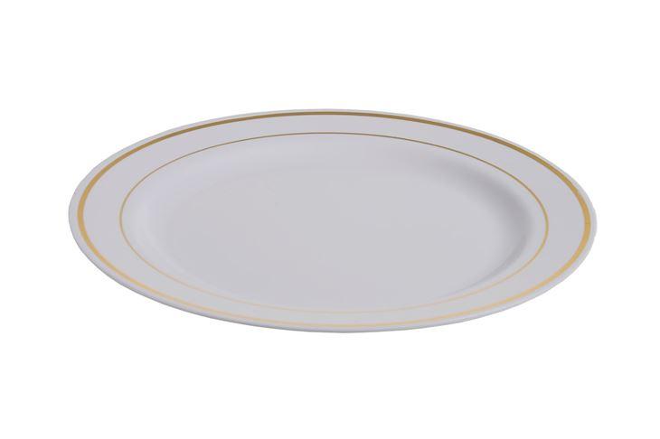 Afbeeldingen van Plastic borden luxe wit/goud